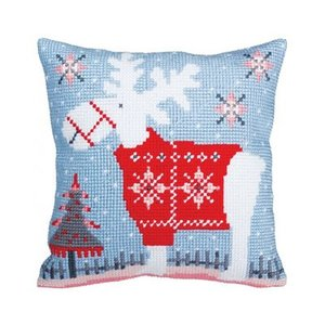 Collection d'Art Kussen borduurpakket Christmas deer - Collection d'Art