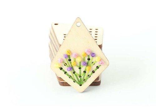 Stitchonomy  Houten ornament - Geometrische houten borduurhanger