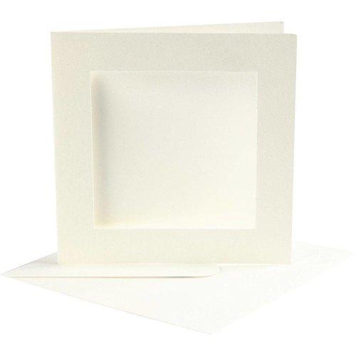 Creativ Company Set 10 kaarten met enveloppe - Vierkant - Ivoor