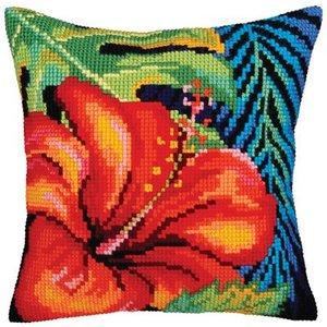 Collection d'Art Kussen borduurpakket Hibiscus Flower - Collection d'Art