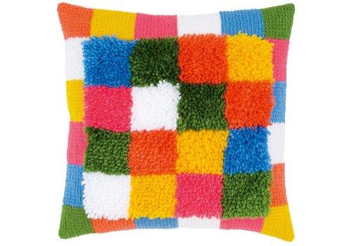 Vervaco Knoopkussen met kettingsteken: Bright Squares
