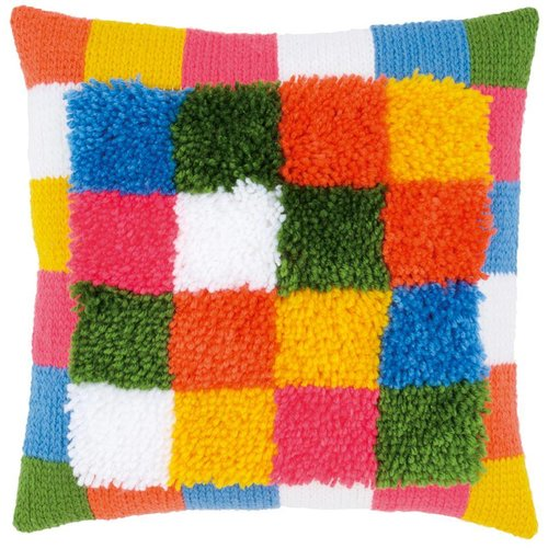 Vervaco Knoop kettingsteekkussen kit Bright squares