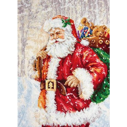 Luca-S Petit Point Borduurpakket Santa Claus in snow - Luca-S