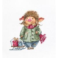 Borduurpakket Christmas Pig - Luca-S