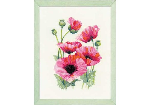 RIOLIS Borduurpakket Pink Poppies - RIOLIS