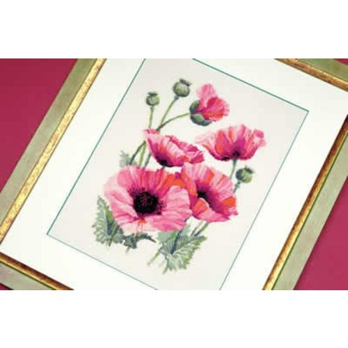 RIOLIS Borduurpakket Pink Poppies - RIOLIS