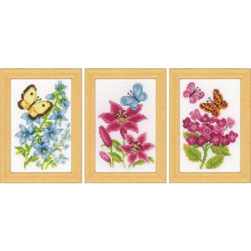 Vervaco Miniatuur kit Bloemen en vlinders set van 3