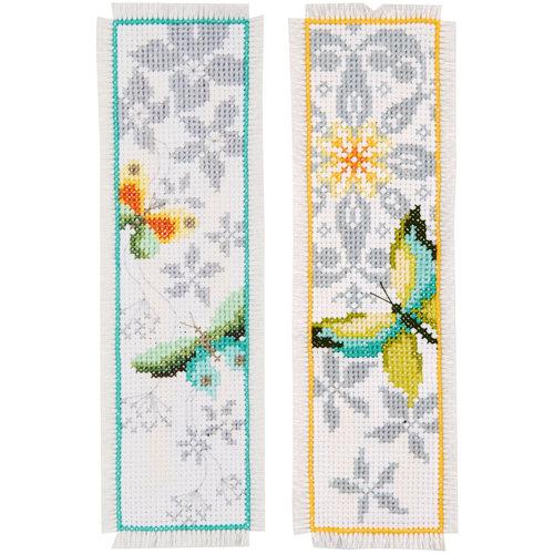 Vervaco Bladwijzer kit Vlinder en bloemen set van 2