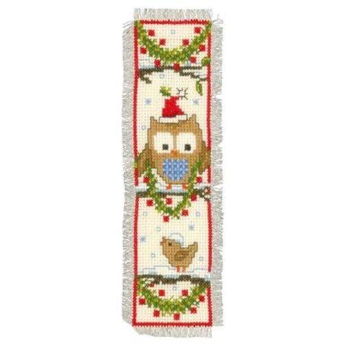 Vervaco Bladwijzer kit Uiltjes met kerstmuts set van 2