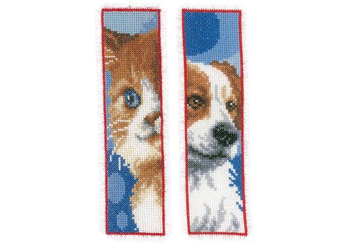 Vervaco Bladwijzer kit Kat en hond set van 2