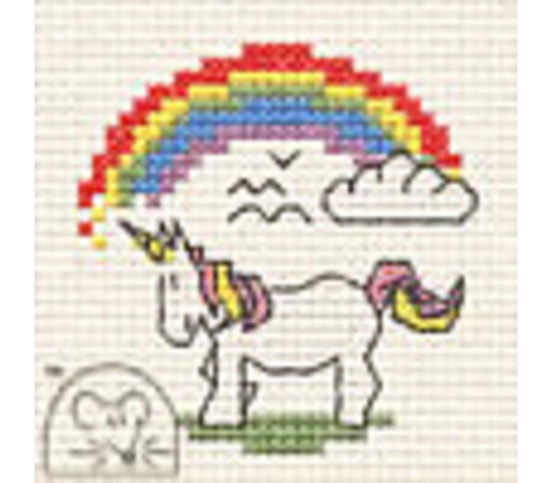 Borduurpakket Unicorn with Rainbow - Mouseloft