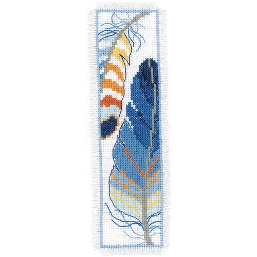 Vervaco Bladwijzer kit Blauwe pluimpjes set van 2