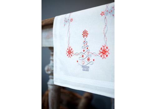 Vervaco Loper kit Kerstbomen in Rood