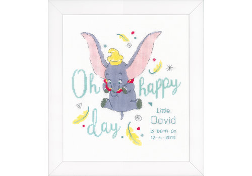Vervaco Telpakket kit Geboortetegel Disney Dumbo Oh happy day: David