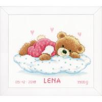 Telpakket kit Geboortetegel Snoezend beertje: Jules of Lena