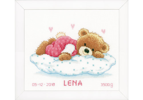 Vervaco Telpakket kit Geboortetegel Snoezend beertje: Jules of Lena