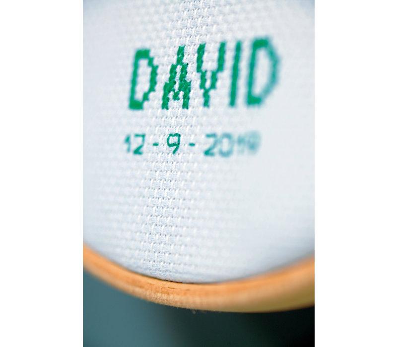 Telpakket kit Geboortetegel Lieve luiaard: David