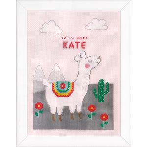 Vervaco Telpakket kit Geboortegel Leuke lama: Kate