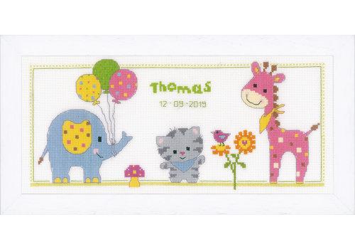 Vervaco Telpakket kit Geboortetegel Poes en vriendjes: Thomas