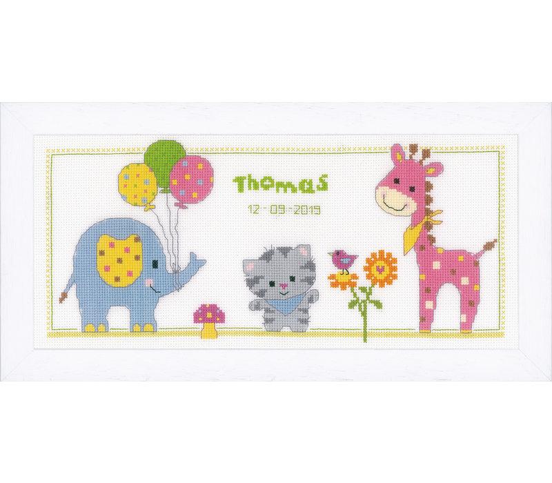 Telpakket kit Geboortetegel Poes en vriendjes: Thomas