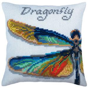 Collection d'Art Kussen borduurpakket Dragonfly - Collection d'Art
