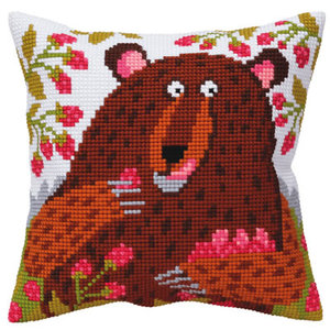 Collection d'Art Kussen borduurpakket Bear in raspberry - Collection d'Art