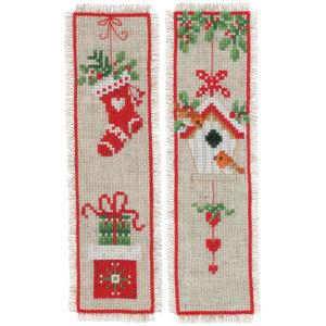 Vervaco Bladwijzer kit Kerstmotiefjes - Set van 2