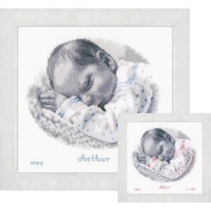 Vervaco Telpakket kit Geboortetegel Slapende Baby: Arthur of Alice
