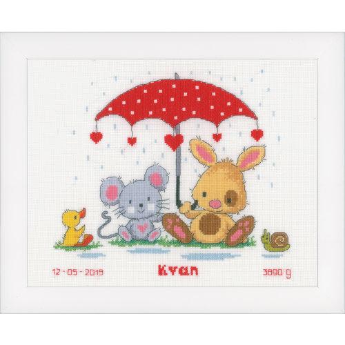 Vervaco Telpakket kit Geboortetegel Onder de Paraplu: Kyan