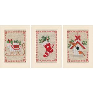Vervaco Wenskaart kit Kerstmotiefjes set van 3