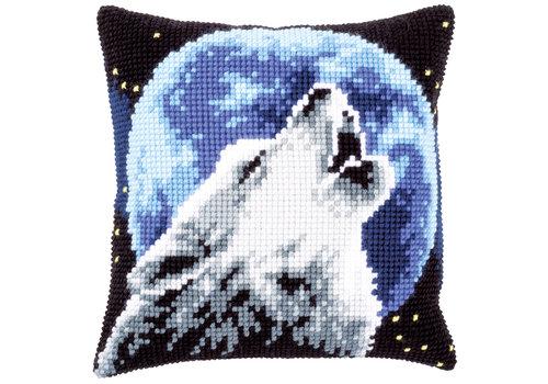 Vervaco Kruissteekkussen kit Huilende Wolf