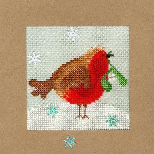 Bothy Threads Kerstkaart Bothy Threads - Snowy Robin