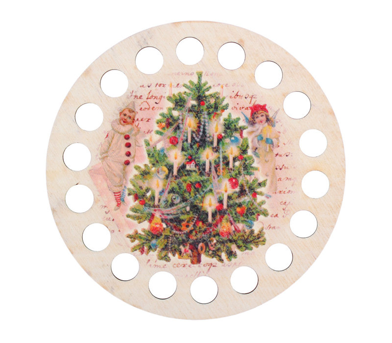 Garenhouder multiplex - Rond opdruk Kerst - RTO
