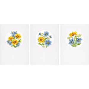 Vervaco Wenskaart kit Gele en blauwe bloempjes set van 3