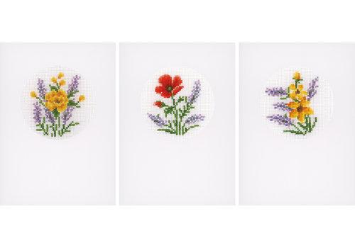 Vervaco Wenskaart kit Bloemen en lavendel set van 3