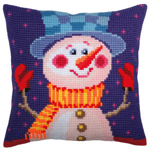 Collection d'Art Kussen borduurpakket Cheerful Snowman - Collection d'Art