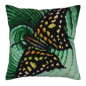 Collection d'Art Kussen borduurpakket Butterfly - Collection d'Art
