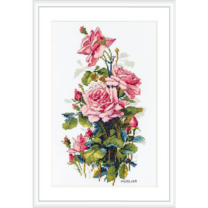 Merejka Borduurpakket Pink Roses  - MEREJKA