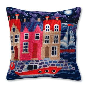 Collection d'Art Kussen borduurpakket Night harbor - Collection d'Art