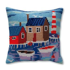 Collection d'Art Kussen borduurpakket Serene harbor  - Collection d'Art