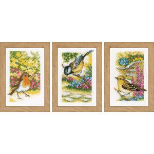 Vervaco Miniatuur kit Vogels in tuin set van 3