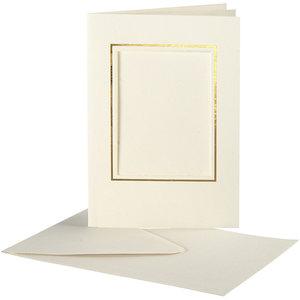 Creativ Company Set 10 kaarten met enveloppe - Rechthoek - Ivoor/Goud