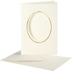 Creativ Company Set 10 kaarten met enveloppe - Ovaal- Ivoor/Goud