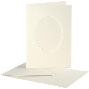 Creativ Company Set 10 kaarten met enveloppe - Ovaal- Ivoor