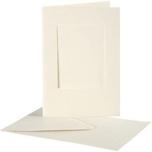Creativ Company Set 10 kaarten met enveloppe - Rechthoek - Ivoor