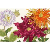 Japanese Woodblock Prints - Dahlia Blooms