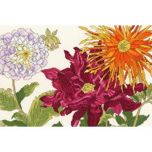 Bothy Threads Japanese Woodblock Prints - Dahlia Blooms