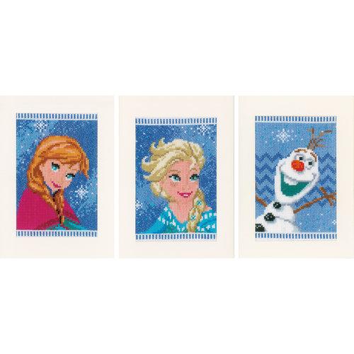 Vervaco Wenskaart kit Disney Elsa, Olaf en Anna set van 3
