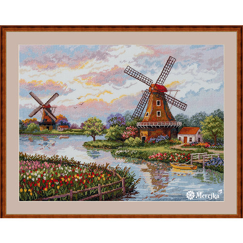 Merejka Borduurpakket Dutch Windmills - Merejka