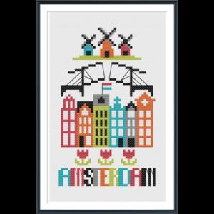 Tiny Modernist Borduurpatroon Amsterdam